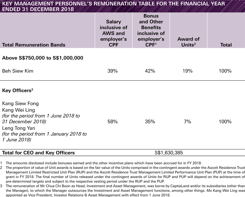 KEY MANAGEMENT PERSONNEL'S REMUNERATION TABLE FOR THE FINANCIAL YEAR
